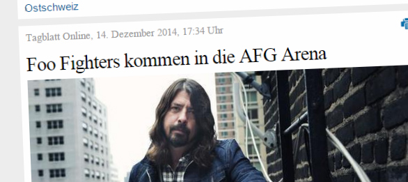 Die Foo Fighters im Sommer 2015 in der AFG Arena in St. Gallen
