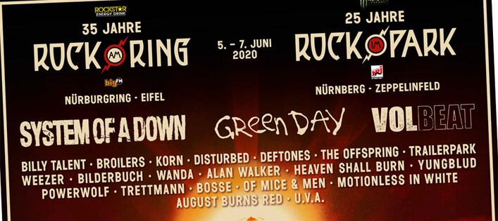 Rock am Ring / Rock im Park 2020 mit Green Day, SOAD, Volbeat & Co!